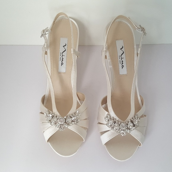 612038dffeb4 Nina Viani satin peep toe wedge - Ivory